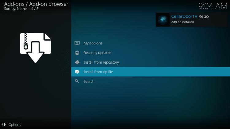 wait for cellardoor tv add-on installed message