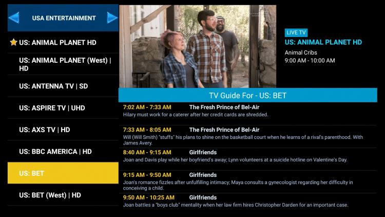 TV Guide Scrolling