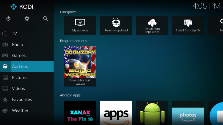 Go Back to Kodi Home Screen Then Click Add-Ons
