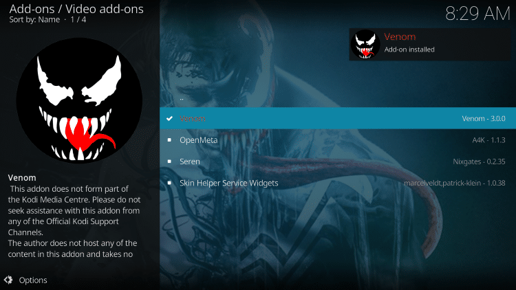 wait for venom add-on installed message