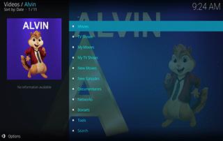 alvin kodi addon home screen