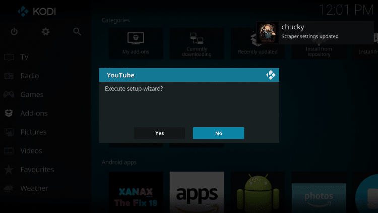 if the youtube setup wizard message appears click no