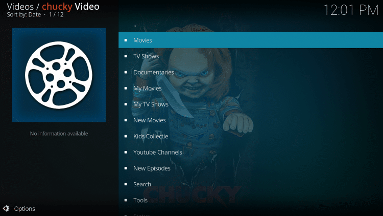 installation of the chucky kodi addon is now complete