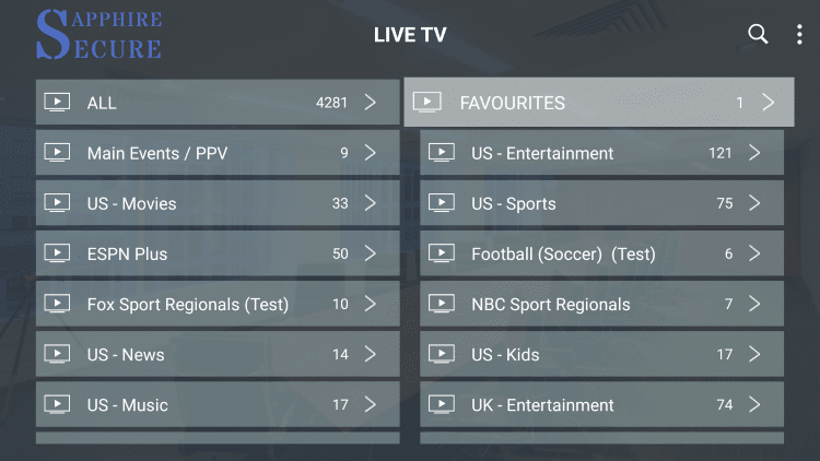 Click the back button on your remote, then select Favourites from the Live TV menu.