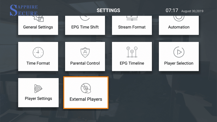 Scroll down and select external players