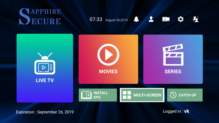 On the Sapphire Secure home screen click Multi-Screen.