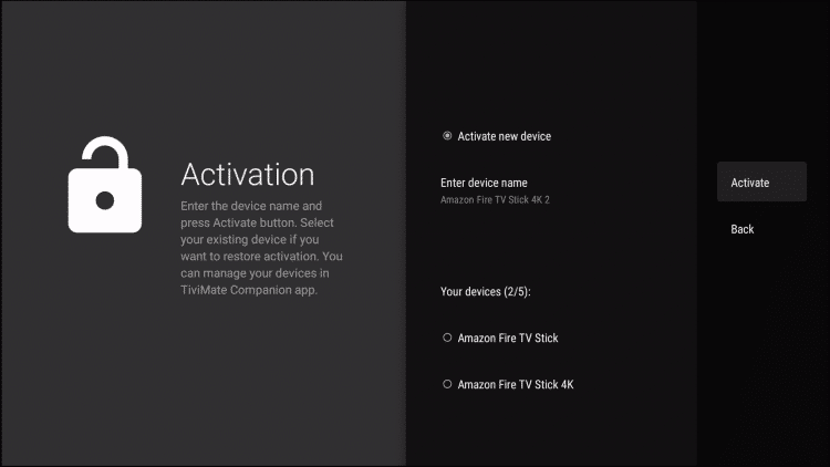 Enter the device name and click Activate tivimate