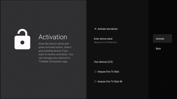 click activate
