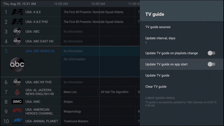 auto-update tv guide