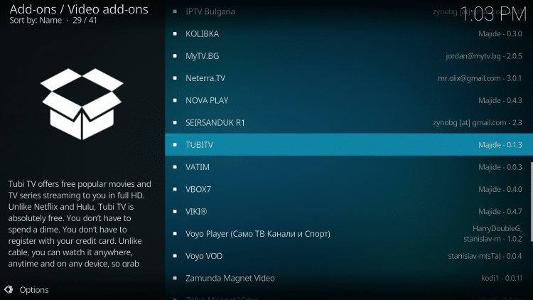 scroll down and select tubitv