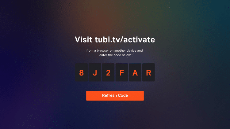 enter in the tubi tv activate URL on another device