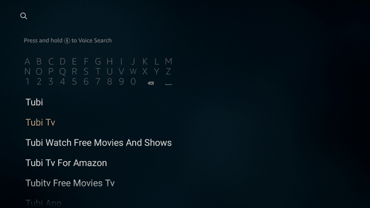 enter tubi tv in the search bar