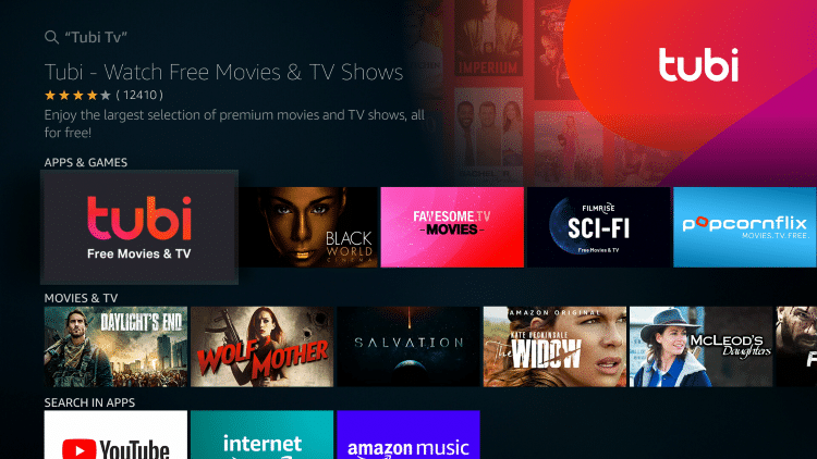 click on the tubi tv app once it appears on your screen