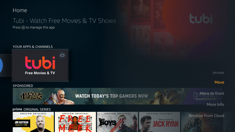 hover over Tubi and click the options button