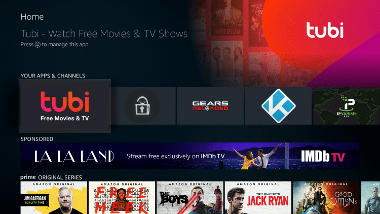 click on tubi tv to launch the application