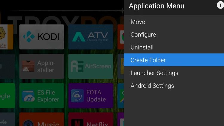 Step 1 - How to Create a Folder on ATV Launcher