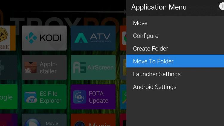 Step 4 - How to Create a Folder on ATV Launcher