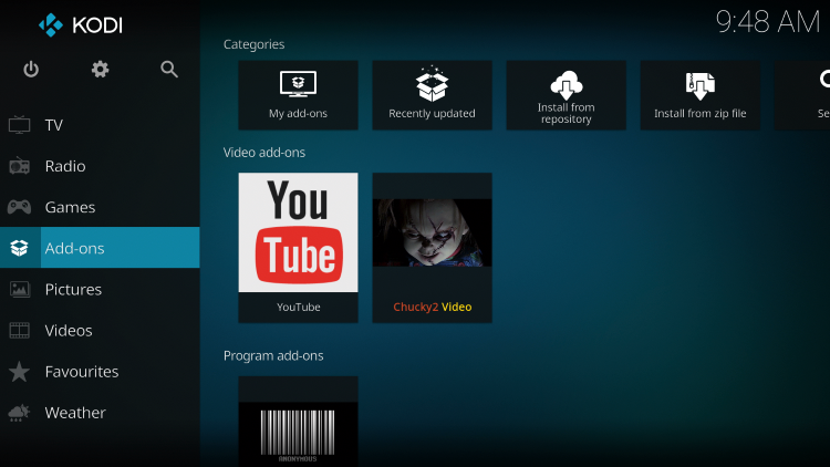Once the Chucky2 Video add-on has been installed go back to the Home screen of Kodi