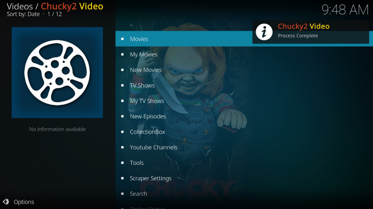 The Chucky2 Kodi Add-on is now successfully installed.