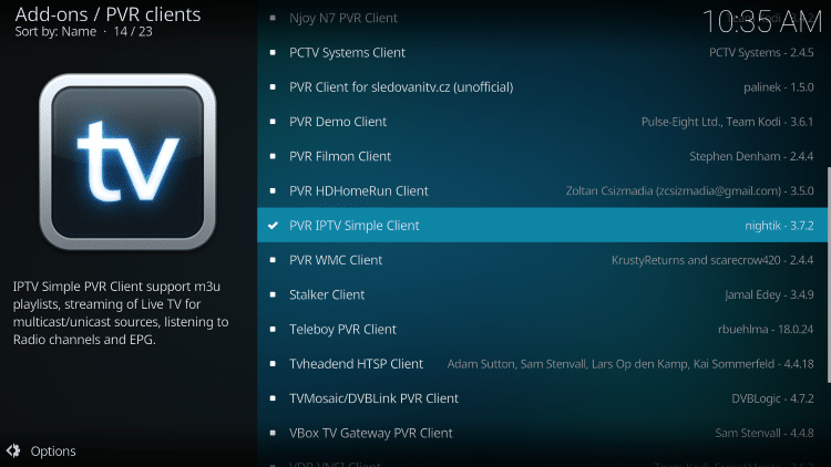 click pvr iptv simple client again