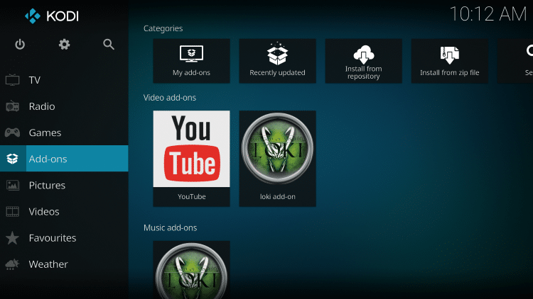 go back to the Home screen of Kodi and select Add-ons