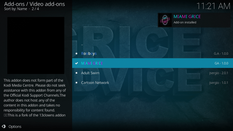 """Wait for the """"Miami Grice Add-on installed"""" message to appear"""