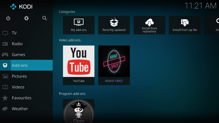 Once the Miami Grice Video add-on has been installed go back to the Home screen of Kodi. Click Add-ons