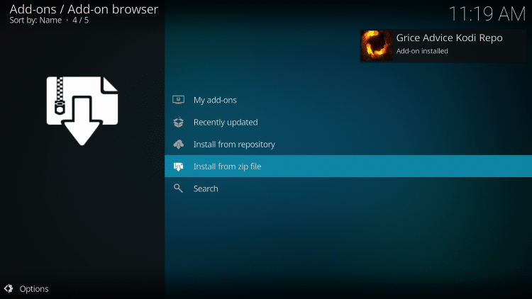 """Wait for the """"Grice Advice Kodi Repo Add-on installed"""" message to appear"""