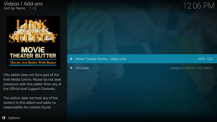 Click Movie Theater Butter - Select Link