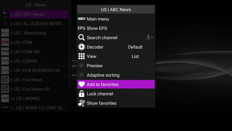 Click the Options button on your remote (3 horizontal lines) then scroll down and select Add to favorites.