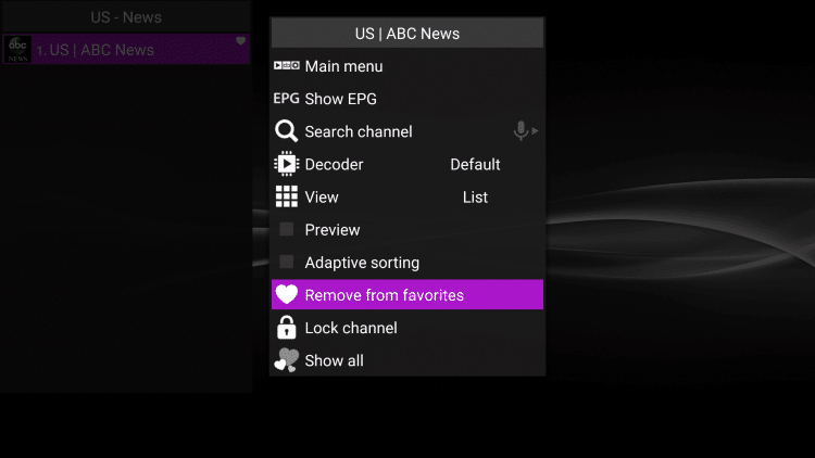 To remove a channel from favorites, hover over the selected channel then hold down the Options button on your remote. Then scroll down and choose Remove from favorites.