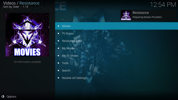 That's it! The Resistance Kodi add-on is now successfully installed.