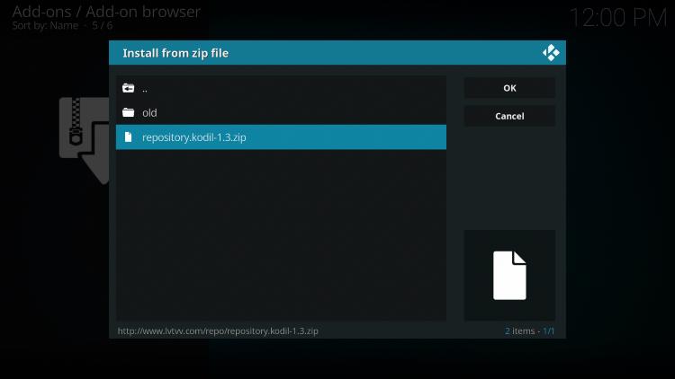 Click the zip file URL - repository.kodil-1.3.zip