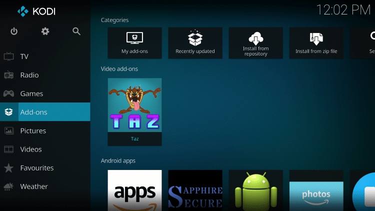 Once the Taz Video add-on has been installed go back to the Home screen of Kodi. Click Add-ons