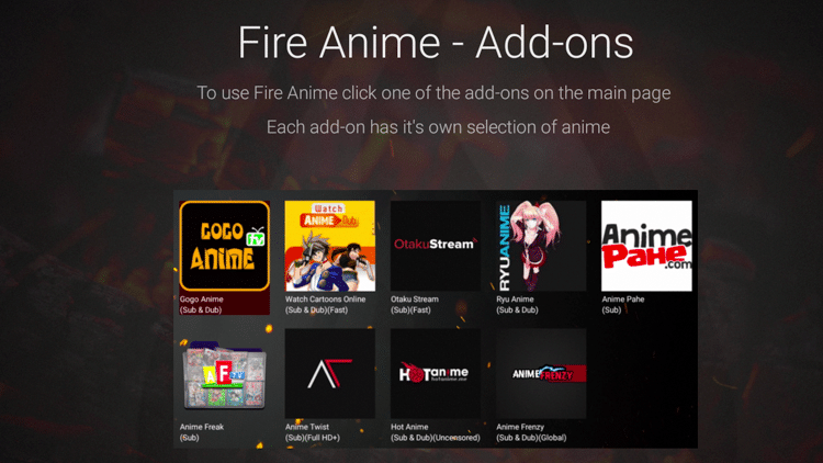 Fire Anime Features - Add-ons
