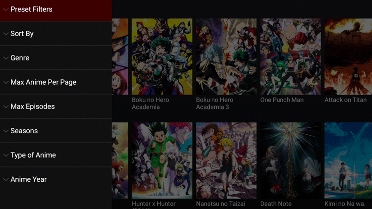 Fire Anime Features - Filter and Sort