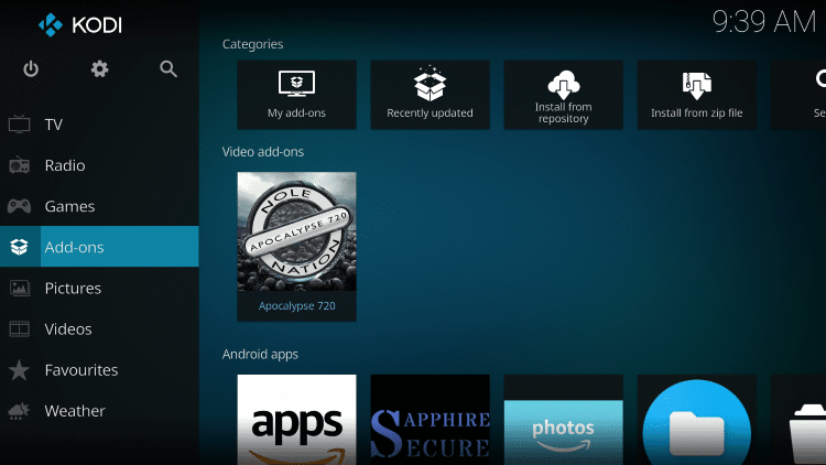 Once the Apocalypse 720 Video add-on has been installed go back to the Home screen of Kodi.