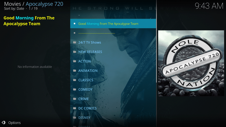 That's it! The Apocalypse 720 Kodi add-on is now successfully installed