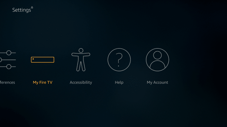 Scroll to the right using the navigation button on your remote and click My Fire TV.