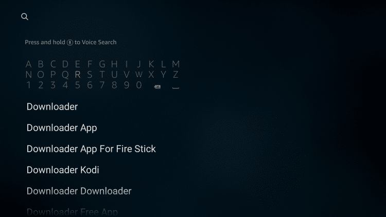 "Type in ""Downloader"" to install the free application. This will be used to side-load the Aptoide TV app."