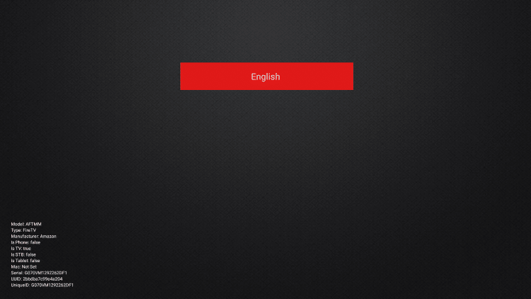 Click the OK button on your remote to confirm English as your selected language.