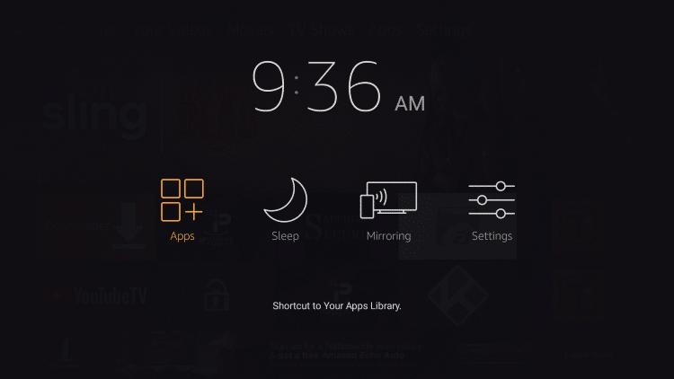 Go back to home screen then press & hold the home button on Fire TV remote for a few seconds. Then click Apps.