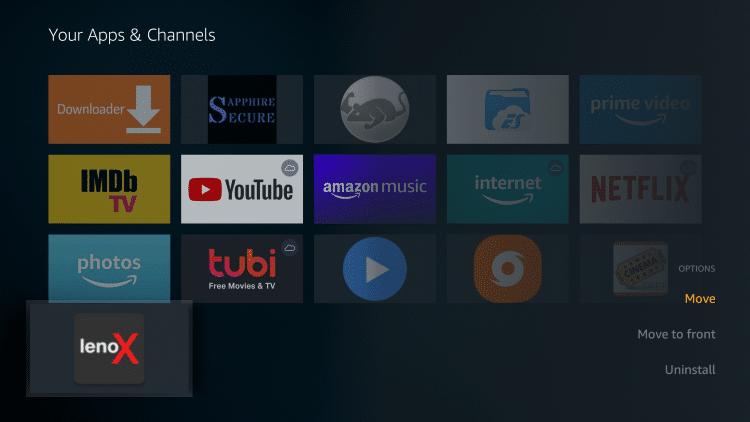"Click ""Move"" in the bottom right corner to move the app."