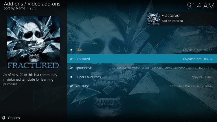 """Wait for the """"Fractured Add-on installed"""" message to appear"""