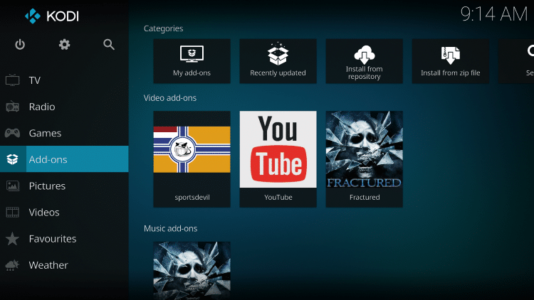 Once the Fractured Video add-on has been installed go back to the Home screen of Kodi. Click Add-ons