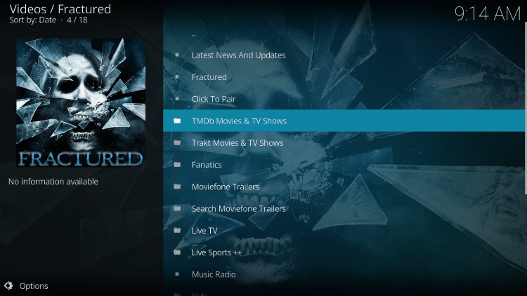 That's it! The Fractured Kodi Add-on is now successfully installed