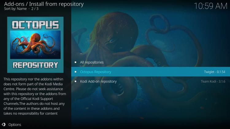 Select Octopus Repository