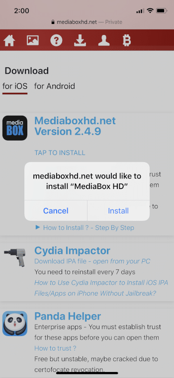 when prompted, click install
