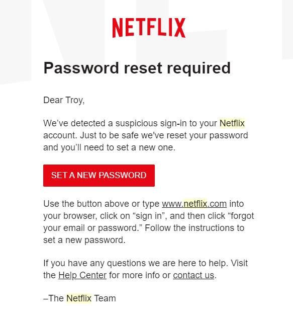 Netflix Reset Password