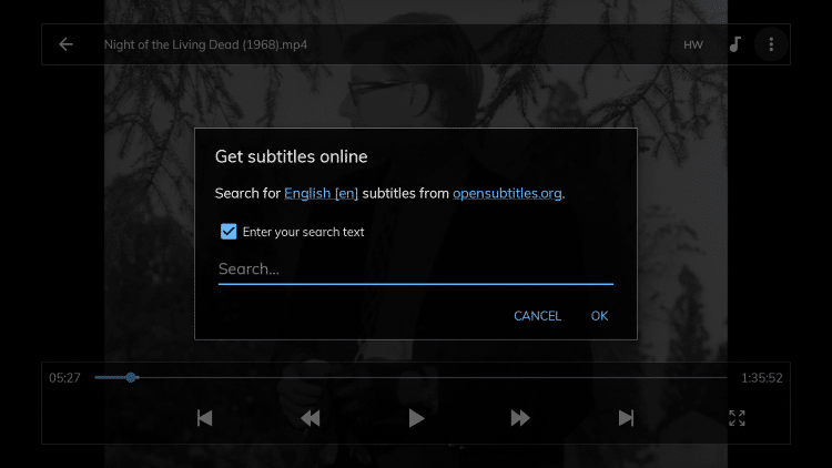 After checking that box you will be prompted to search using opensubtitles.